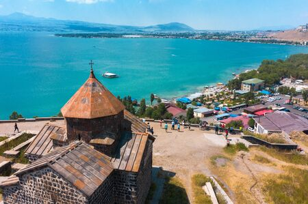old Sevanavank monastery on the shore of lake Sevan in Armenia. in summer on a clear Sunny day. photography from the quadrocopter.