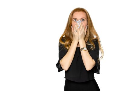 frightened young woman on an isolated white background. unexpected news and fright