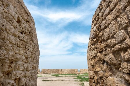 a fragment of the old Crusader fortress in the old city of Akko in Israel. view of the Fort and its walls at the entrance