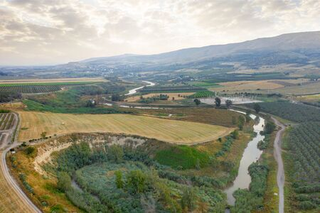 landscape from aerial of Northern part of Israel. spring in Israel with a view of the Jordan river. Archivio Fotografico