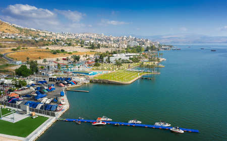 The city of Tiberias in Israel and the Sea of Galilee. A city without tourists during the coronovirus. Aerial view