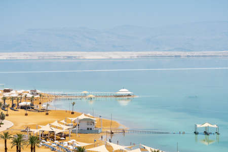 beautiful beaches of the dead sea in ein bokek in israel. aerial view Фото со стока