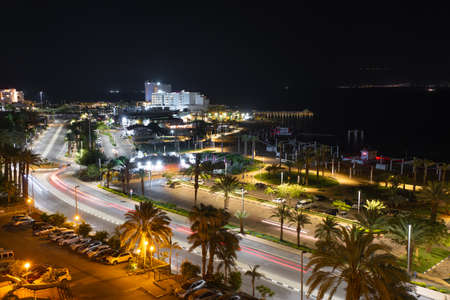 Evening view of the resort city of Ein Bokek on the Dead Sea in Israel