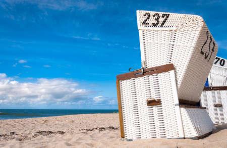 german north sea region: Beach chairs  on the island of Sylt, Schleswig-Holstein, Germany