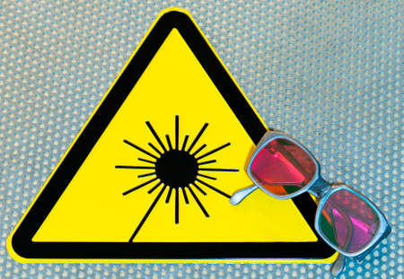 radiotherapy: Laser safety sign and glasses