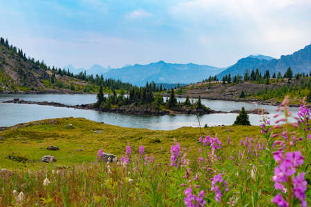 Alpine lake and mountains in sunshine meadows, banff national park, Alberta, Canada Stock Photo