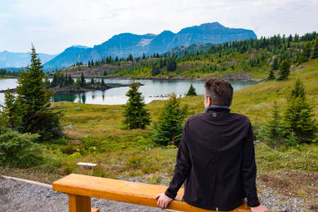 meadowland: Alpine lake and mountains in sunshine meadows, banff national park, Alberta, Canada Stock Photo