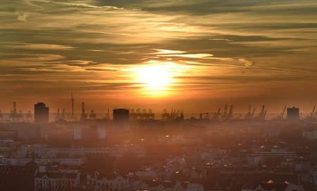 st pauli: birds eye view of a sunset in Hamburg, Germany
