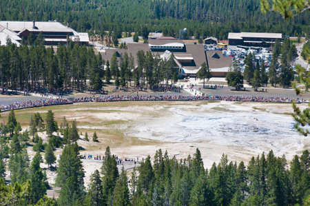 eruption: Old Faithful geyser before eruption at Yellowstone National Park, USA