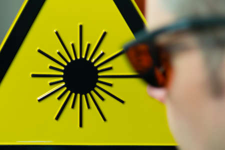 Laser safety sign and glases