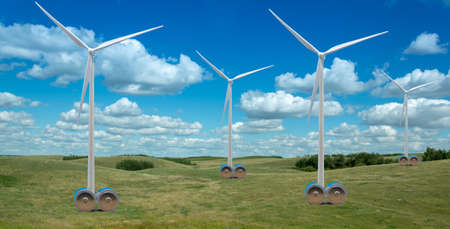 Wind turbines in beautiful countryside with huge batteries as symbol to store  wind energy.