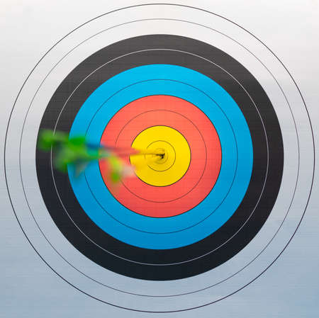 Perfect shot of three arrows. Focus is on tail of arrows. Archivio Fotografico
