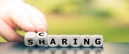 """Les dés forment les mots """"soin"""" et """"partage""""."""