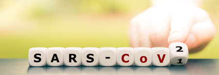 """Hand turns dice and changes the expression """"Sars-CoV1"""" to """"Sars-CoV2"""". Stock Photo"""