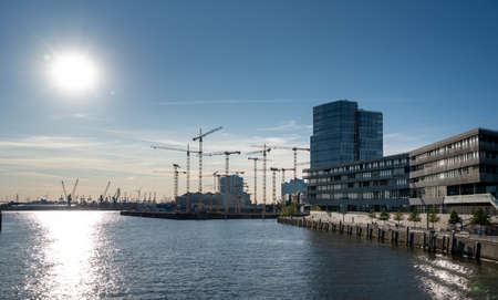 Construction site in the district of Hafencity of Hamburg, Germany.