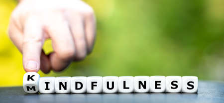 Dice form the words mindfulness and the new word creation kindfulness. Stockfoto