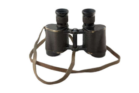 antique binoculars: army soviet field glasses 1945 on white background Stock Photo