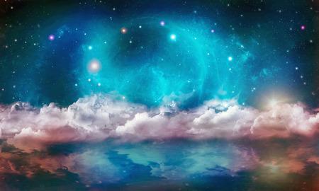 water reflection: Stellar nebula cosmos space reflection on water