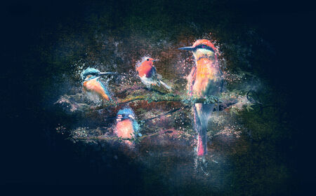 Birds with spray paint on a grungy background                                photo