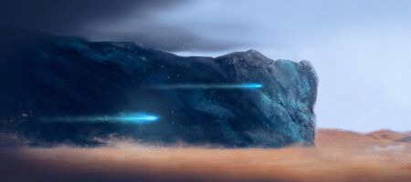 red sky: drawing fantastic landscape on another planet Stock Photo
