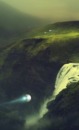 drawing fantastic landscape on another planet Imagens