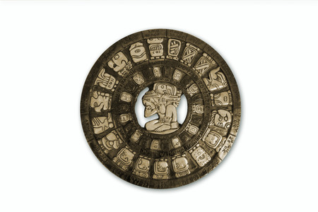 mayan prophecy: Mayan calendar isolated ohn white