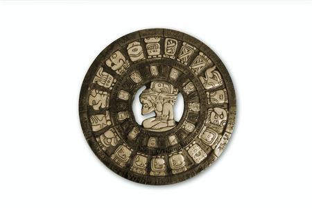 Mayan calendar isolated ohn white