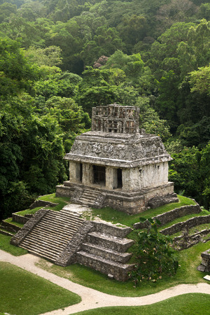 mayan culture: Mayan Temple of the Sun in PalenqueMexico Stock Photo