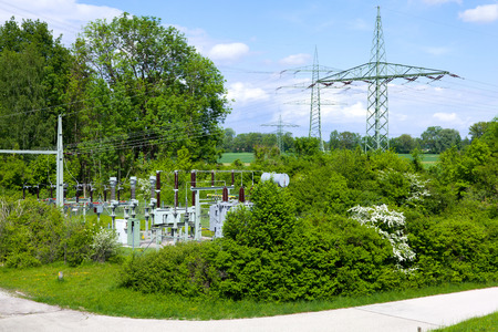 substation: Electrical substation Germany Stock Photo