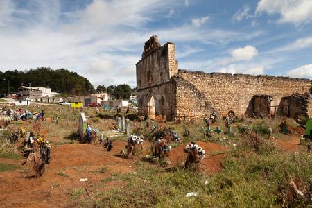 cristobal: The cemetery and the San Sebastian Church of the Tzotzil village San Juan Chamula, a municipality near San Cristobal de las Casas in the Mexican state of Chiapas