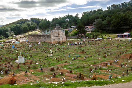 gravesite: The cemetery and the San Sebastian Church of the Tzotzil village San Juan Chamula, a municipality near San Cristobal de las Casas in the Mexican state of Chiapas. Editorial
