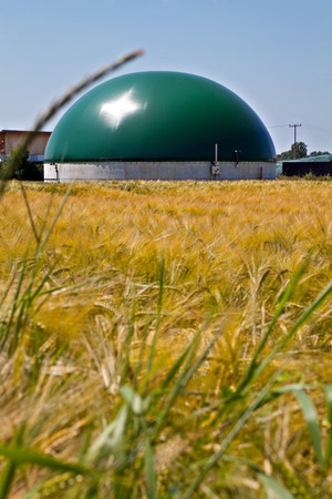 Bio gas plant in a corn field Stock Photo