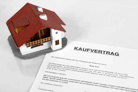 purchase: Real estate contract - Concept with the German word purchase agreement