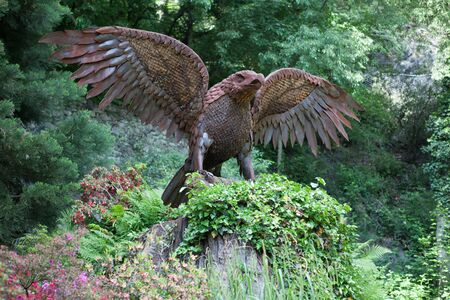 meran: Eagle statue on the woodland walk Sissi in Meran or Merano  Italy Stock Photo