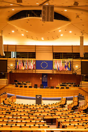 Brussels, Belgium - July 20, 2020: general view of plenary room (debating chamber) of the European Parliament as the coronavirus disease (COVID-19)