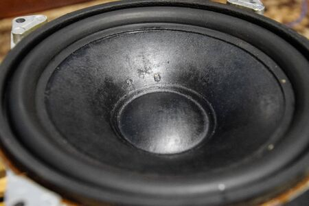 Diffuser and suspension of the Soviet speaker. 25gd-26 Repair of acoustic dynamics, ration soldering wire on the speaker. Nickel cobalt speaker 25gd-26