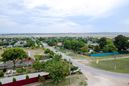 The village for the homeland. Top view of the village in the Krasnodar Territory of Russia.