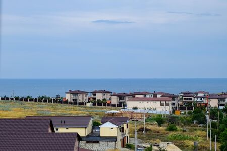 Seaside landscape by the Sea of Azov, the village of For the Motherland.