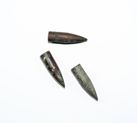 Old rusty bullets from assault rifle.