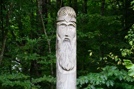 The temple of Dagboga, a pagan idol in the mountain forest of Shapsugi. Dazbog Stock Photo