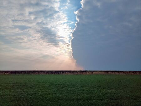 The boundary of atmospheric fronts. The sharp boundary of the clouds in the sky. Stok Fotoğraf