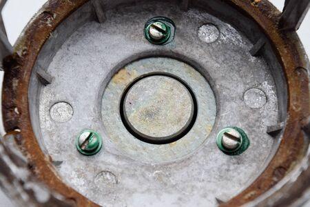 The magnetic system of the Soviet speaker 20gds-3. Disassembled mid-range speaker. Stock Photo