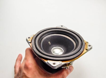 Medium-frequency speakers 15gd-11a.. Soviet vintage acoustics, elements of a music column. Stock Photo