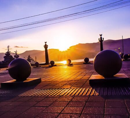 Granite balls on the embankment of Novorossiysk. Фото со стока