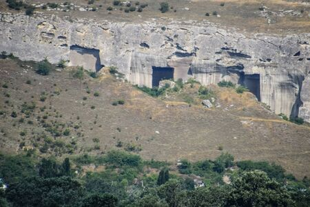 Ancient quarries in the rocks. Evidence of an ancient highly developed civilization. Crimean peninsula. Archivio Fotografico