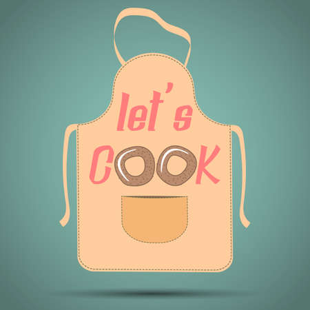 Brown apron with an inscription - Let's Cook