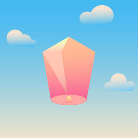 A paper lantern flying in the sky