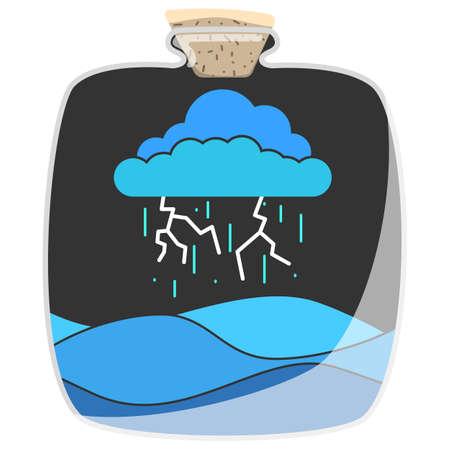 Illustration of rain in the bottle. Ilustrace