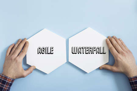 Top view of waterfall and agile project for your business,idea,industry. Concept of modern approach to management. 写真素材
