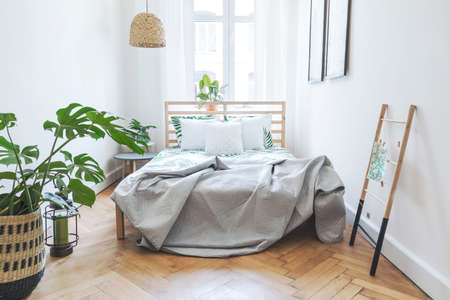 Modern scandinavian sunny bedroom with plants , floral pattern bedding and pilows. Space with white walls and brown wooden parquet. Archivio Fotografico